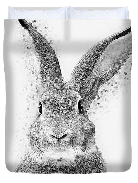 Duvet Cover featuring the digital art Rabbit by Taylan Apukovska
