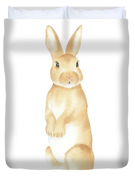 Duvet Cover featuring the painting Rabbit Watercolor by Taylan Apukovska