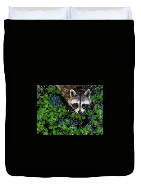 Raccoon Looking Up Duvet Cover