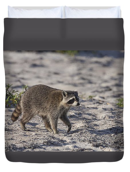Raccoon On The Beach Duvet Cover
