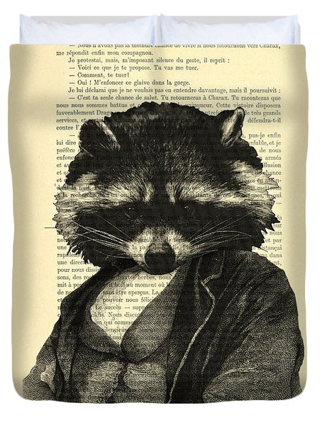 Raccoon Portrait, Animals In Clothes Duvet Cover