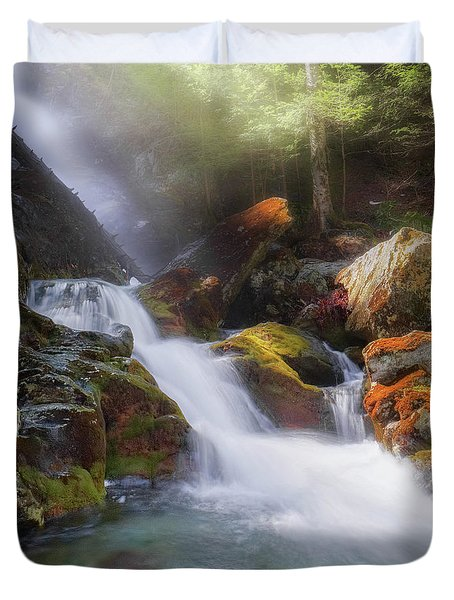 Duvet Cover featuring the photograph Race Brook Falls 2017 Square by Bill Wakeley