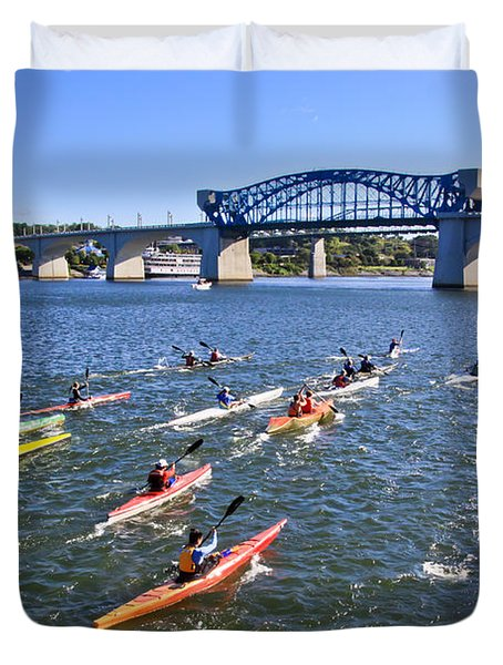 Race On The River Duvet Cover
