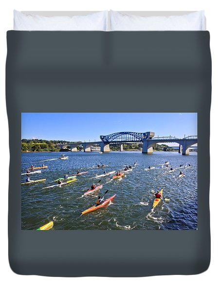 Race On The River Duvet Cover by Tom and Pat Cory