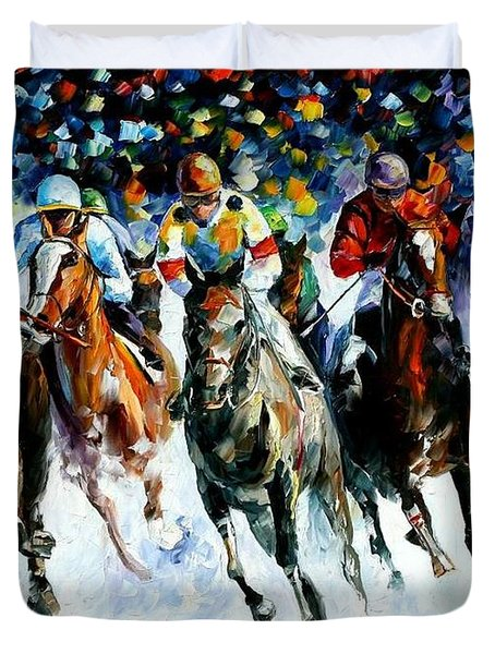 Race On The Snow Duvet Cover by Leonid Afremov