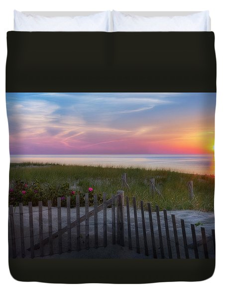 Duvet Cover featuring the photograph Race Point Sunset 2015 by Bill Wakeley