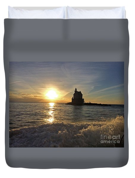 Race Rock Lighthouse, New York Duvet Cover by Cindy Lee Longhini