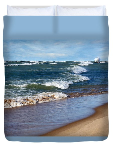 Race To Shore Duvet Cover by Kathi Mirto
