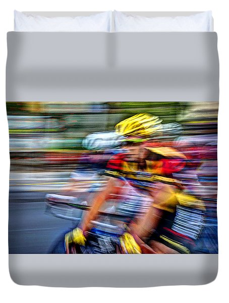 Race To The Finish Duvet Cover by Deborah Klubertanz