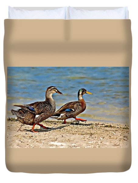 Race You To The Water Duvet Cover by Carolyn Marshall