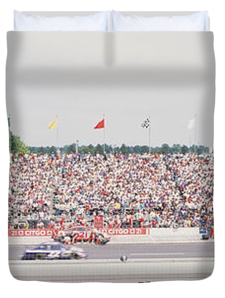 Racecars On A Motor Racing Track Duvet Cover