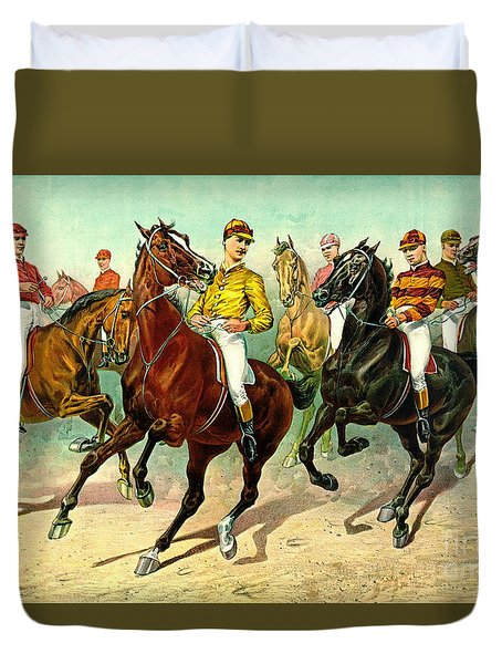 Racehorses 1893 Duvet Cover by Padre Art