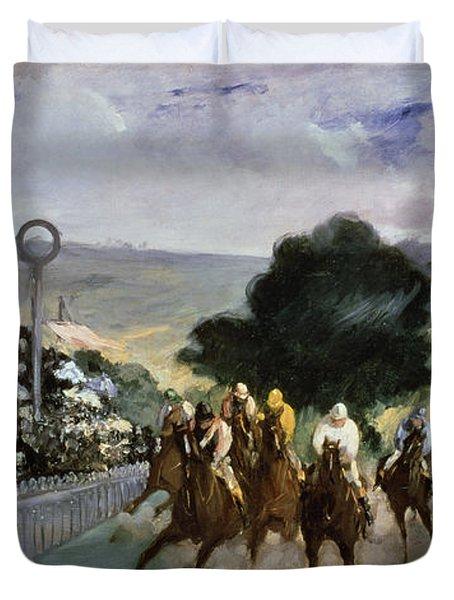 Races At Longchamp Duvet Cover by Edouard Manet
