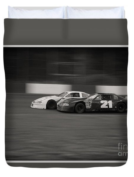 Racing At The Speedway Duvet Cover
