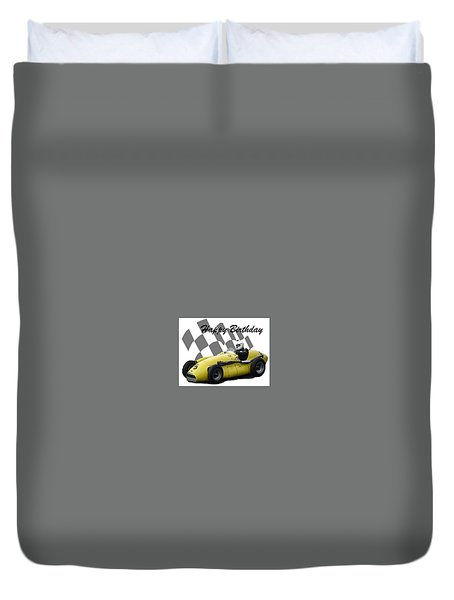 Racing Car Birthday Card 4 Duvet Cover by John Colley
