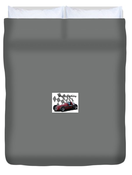 Racing Car Birthday Card 6 Duvet Cover by John Colley