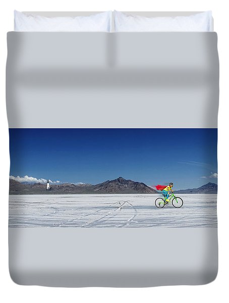 Racing On The Bonneville Salt Flats Duvet Cover