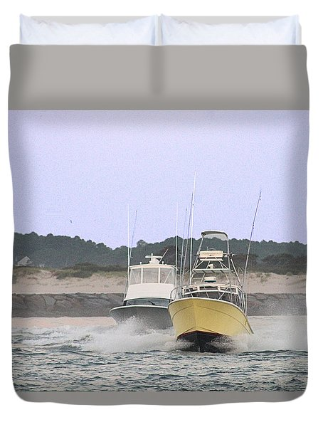 Duvet Cover featuring the photograph Racing Thru The Inlet by Robert Banach