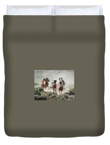 Racing To The Water Hole Duvet Cover