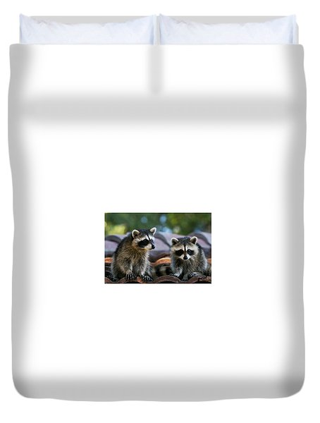 Racoons On The Roof Duvet Cover
