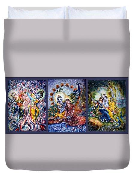 Radha Krishna Cosmic Leela Duvet Cover
