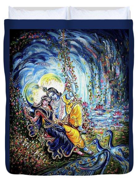 Radha Krishna Jhoola Leela Duvet Cover