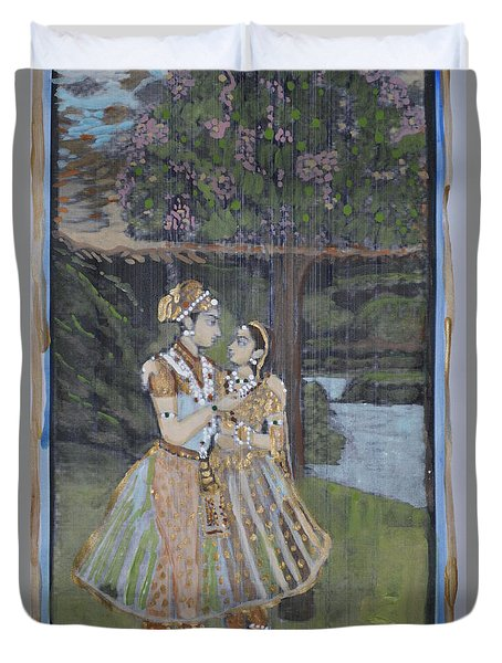 Duvet Cover featuring the painting Radha Krishna by Vikram Singh