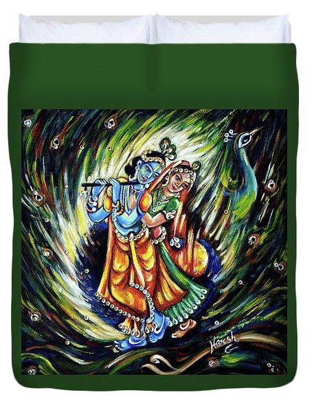 Duvet Cover featuring the painting Radhe Krishna by Harsh Malik