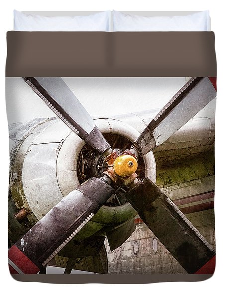 Duvet Cover featuring the photograph Radial Engine And Prop - Fairchild C-119 Flying Boxcar by Gary Heller