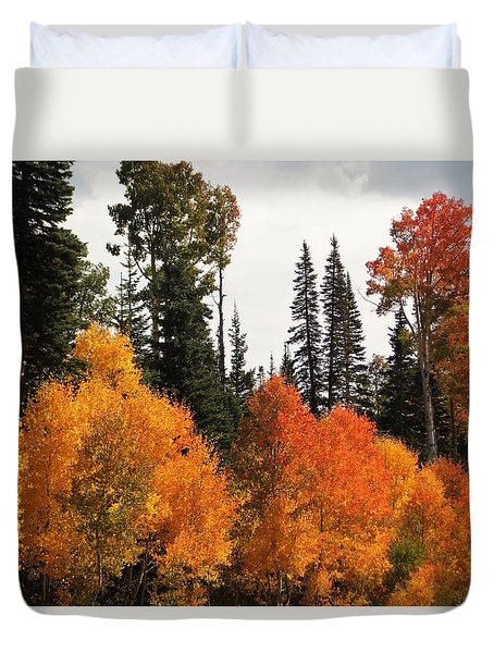 Duvet Cover featuring the photograph Radiant Autumnal Forest by Deborah Moen
