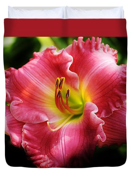Radiant Pink Daylily Duvet Cover