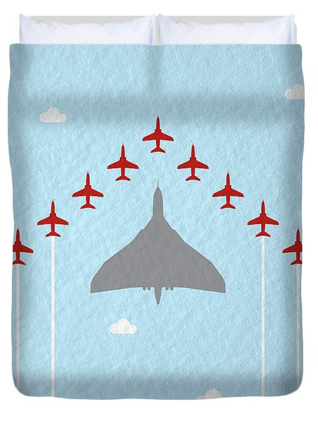 Raf Red Arrows In Formation With Vulcan Bomber Duvet Cover