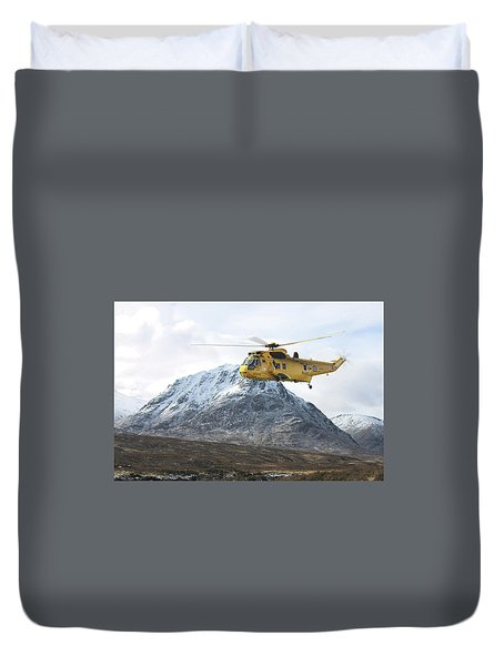 Duvet Cover featuring the digital art Raf Sea King - Sar by Pat Speirs