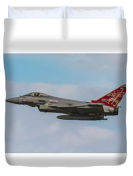 Raf Typhoon In Flight At Uk Airshow Duvet Cover