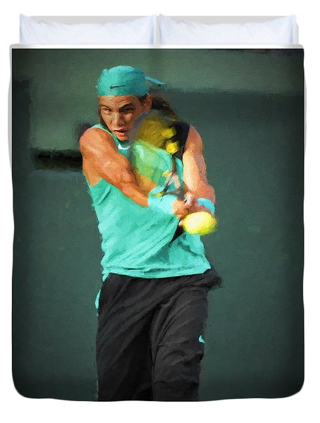 Duvet Cover featuring the painting Rafael Nadal by Lou Novick