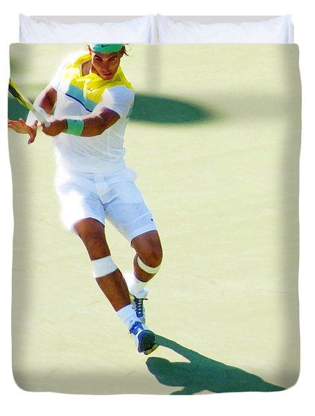 Rafael Nadal Shadow Play Duvet Cover by Steven Sparks