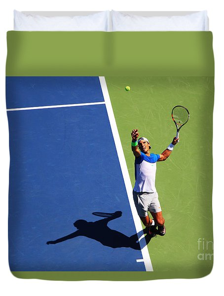 Rafeal Nadal Tennis Serve Duvet Cover by Nishanth Gopinathan