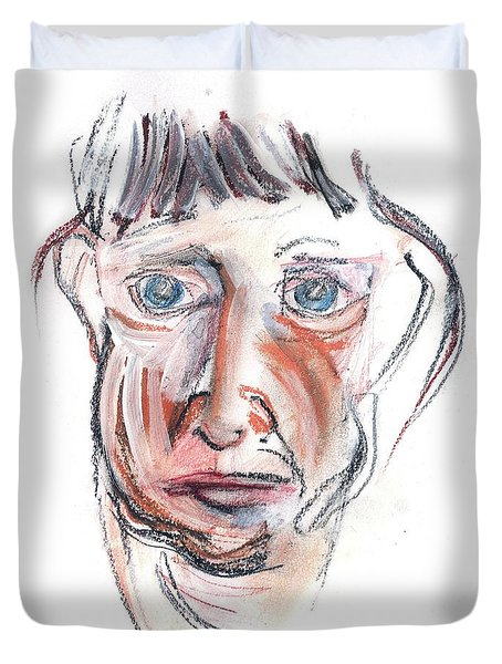 Duvet Cover featuring the drawing Raggedy Selfie by Carolyn Weltman