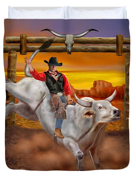 Ride 'em Cowboy Duvet Cover by Glenn Holbrook