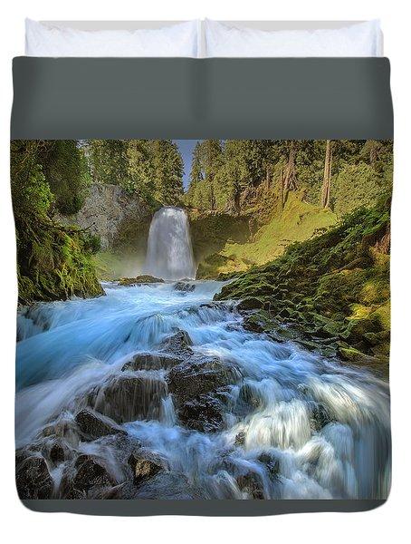 Raging Sahalie Falls Duvet Cover by David Gn