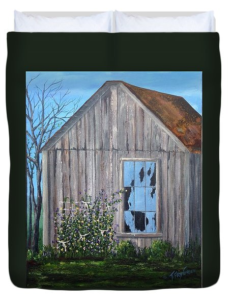 Rags, Sweet Peas And Time Duvet Cover by T Fry-Green