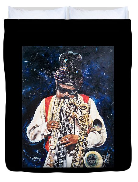 Rahsaan Roland Kirk- Jazz Duvet Cover by Sigrid Tune