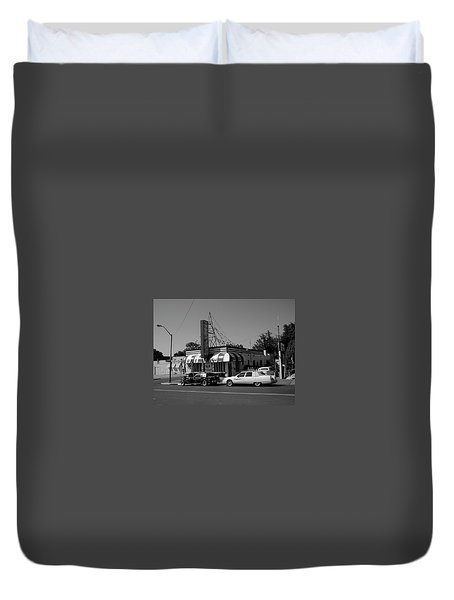 Duvet Cover featuring the photograph Raifords Disco Memphis A Bw by Mark Czerniec