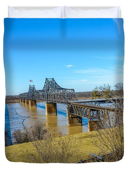Duvet Cover featuring the photograph Rail Road Bridge by Jerry Cahill