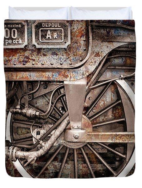 Rail Wheel Grunge Detail,  Steam Locomotive 06 Duvet Cover