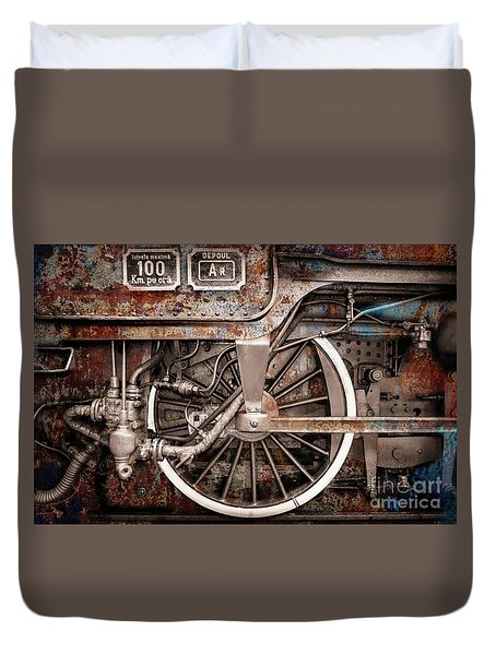 Rail Wheel Grunge Detail,  Steam Locomotive 06 Duvet Cover