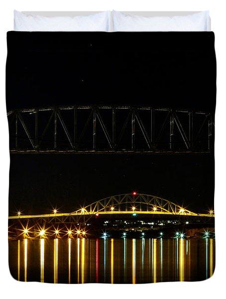Railroad And Bourne Bridge At Night Cape Cod Duvet Cover by Matt Suess