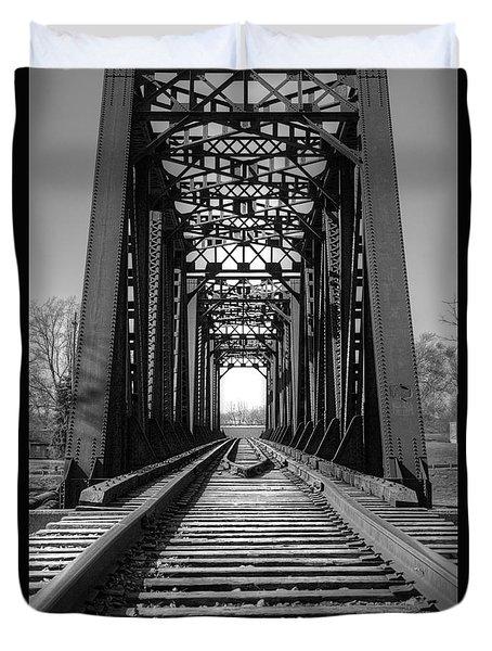 Railroad Bridge Black And White Duvet Cover