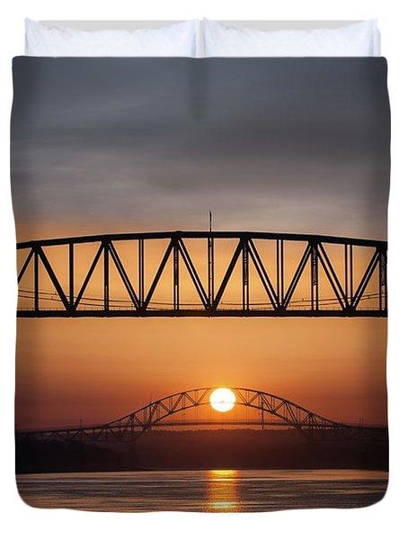 Railroad Bridge Framing The Bourne Bridge During A Sunrise Duvet Cover
