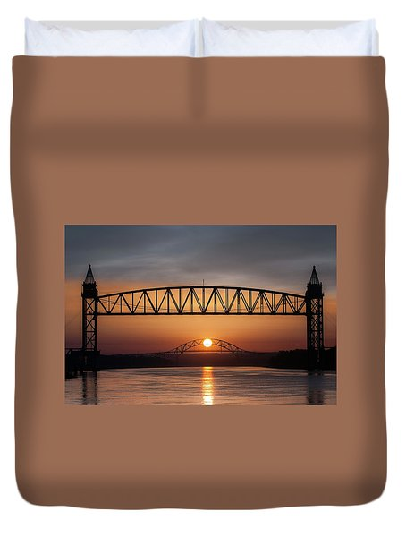Railroad Bridge Framing The Bourne Bridge During A Sunrise Duvet Cover